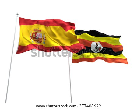 Spain & Uganda Flags are waving on the isolated white background - stock photo
