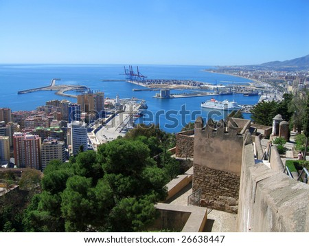 Spain, view over Malaga harbor and ancient citadel