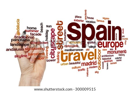 Spain word cloud - stock photo