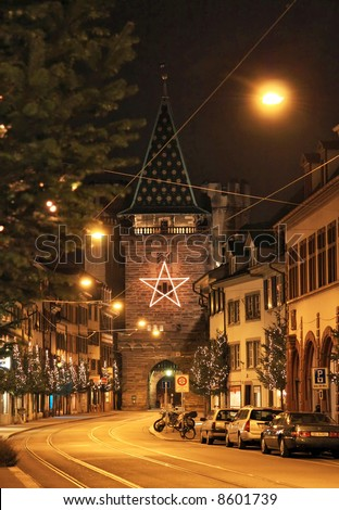 Spalentor, Middle Age Building in Basel, Switzerland, host city of the Euro 2008. - stock photo