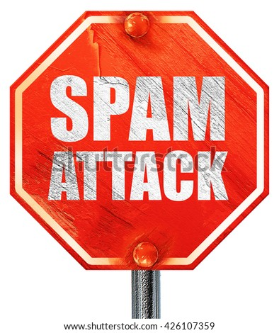 spam attack, 3D rendering, a red stop sign - stock photo