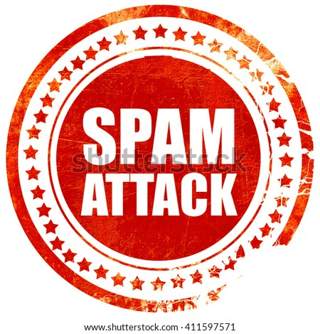 spam attack, red grunge stamp on solid background - stock photo