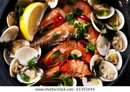 Spanish and Portuguese seafood tapas - stock photo