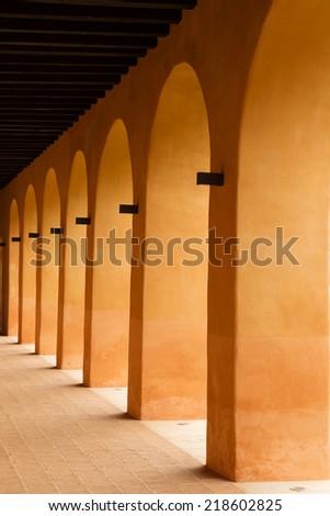 Spanish arches architectural details in San Cristobal de la Casas, Chiapas, Mexico - stock photo