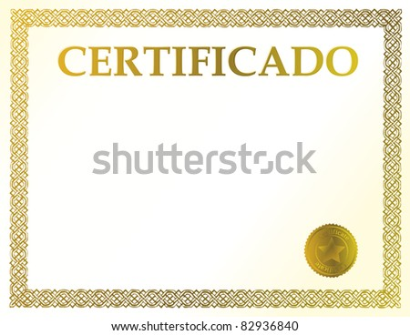Certificate achievement illustration template stock illustration spanish blank certificate ready to be filled with your individual text yadclub Images
