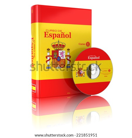 Spanish book  in national flag cover and CD. 3d - stock photo