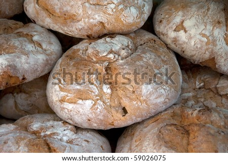 Spanish bread ready to be sold in the market - stock photo