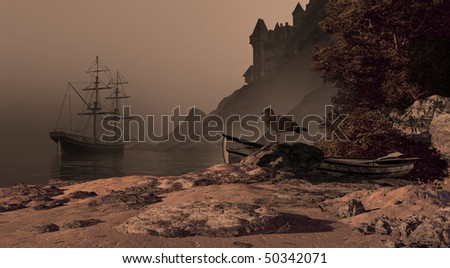 Spanish Brig And Castle - stock photo