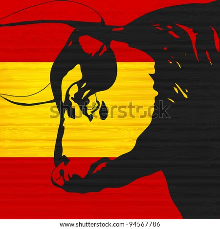 Spanish Bull, Bull head illustration over a flag of Spain - stock photo