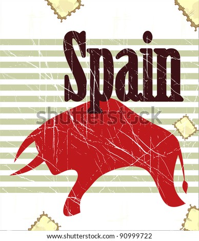 Spanish bull on grungy background - postcard - stock photo