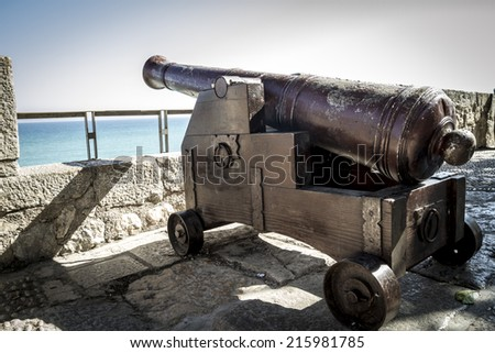 Spanish cannon pointing out to sea fortress