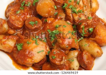 Spanish chicken and chorizo casserole - stock photo