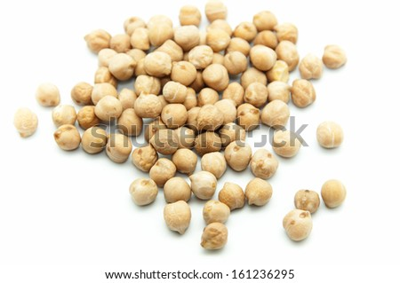 Spanish chickpeas on a white background - stock photo