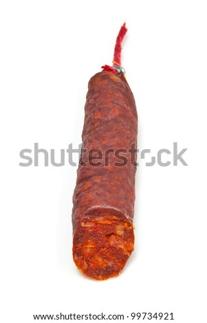 Spanish Chorizo sausage isolated on a white studio background.
