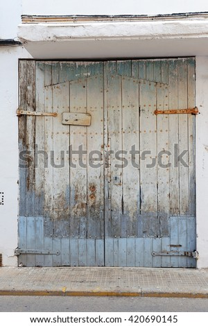 spanish city wooden gates - stock photo