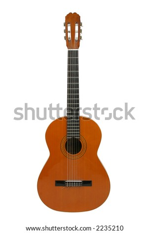 Spanish/classical acoustic guitar, separated/isolated on white background. - stock photo