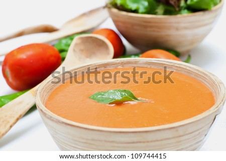 Spanish cold tomato based soup gazpacho served in a bowl