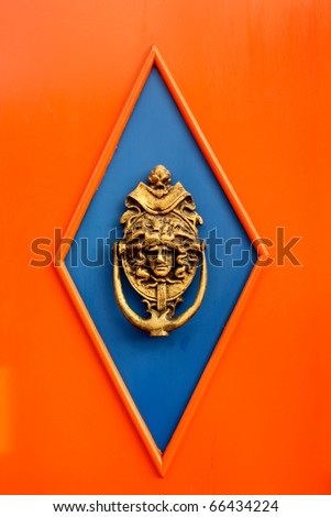 """Spanish colonial style door. Salento, Andean Colombia. Salento is a municipality in the northeastern part of the Quindio department, Colombia, town known as the Cradle of the National Tree """"wax palm"""". - stock photo"""