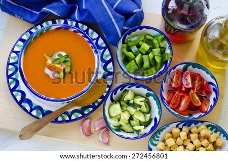 Spanish Cuisine. Gazpacho. Andalusian cold soup served in a ceramic bowl. Taken in daylight.