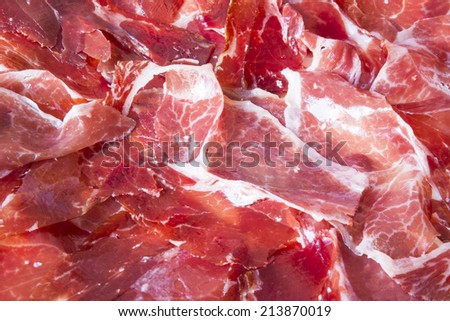 Spanish cured ham background texture - stock photo