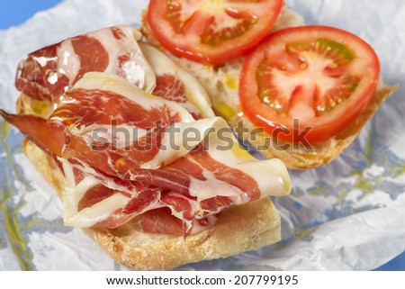 Spanish cured ham toast - stock photo