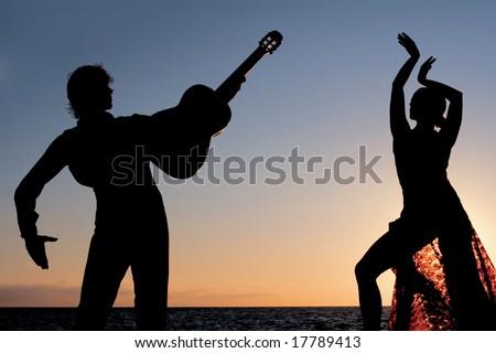 spanish dancer and guitar player - stock photo
