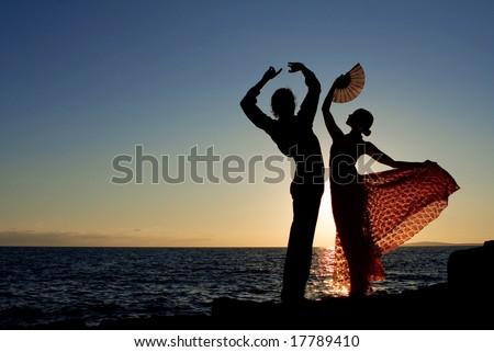 spanish dancers - stock photo