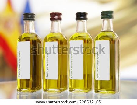 Spanish extra virgin olive oil bottles. Horizontal format - stock photo
