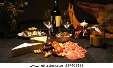 Spanish festive gourmet table, christmas - stock photo