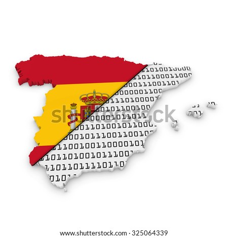 Spanish Financial Concept Image - 3D Outline of Spain textured with the Spanish flag and Euros mix - stock photo