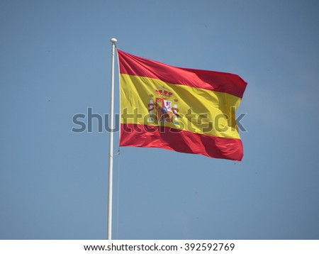 Spanish flag from Spain floating in the air - stock photo