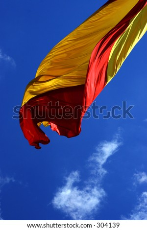 Spanish flag in the wind - stock photo