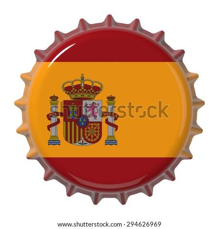 Spanish flag on bottle cap. 3D rendering - stock photo