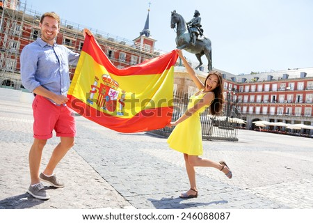 Spanish Flag People Showing Spain Flag Stock Photo - Famous people from spain