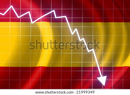 Spanish flag waving in the wind: crisis - stock photo