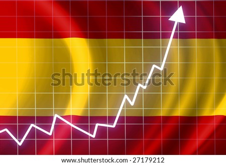Spanish flag waving in the wind: growth - stock photo