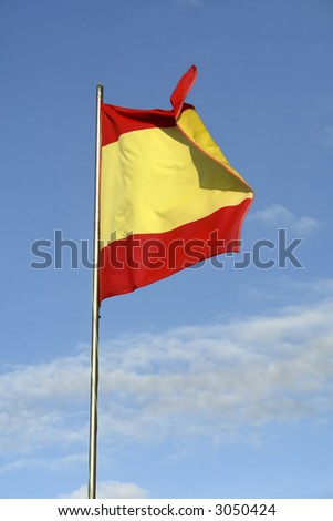 spanish flag whith the sky as background