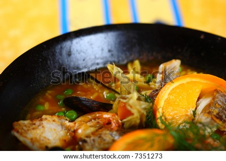 Spanish food, paella, sea food - stock photo