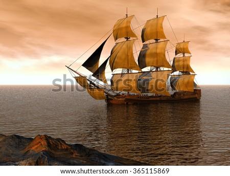 Spanish galleon on a calm sea  - stock photo