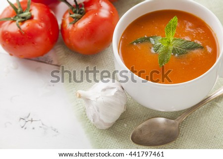 Spanish Gazpacho, cold and refreshing tomato soup - stock photo