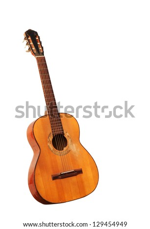 Spanish guitar isolated - stock photo