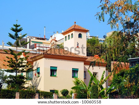 Spanish house on a hill with garden