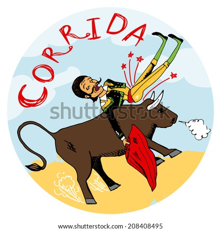 Spanish matador with his red cape being tossed in the air by an angry snorting bull on a circular icon or emblem with the word Corriga illustration - stock photo