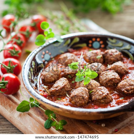 spanish meatballs - stock photo