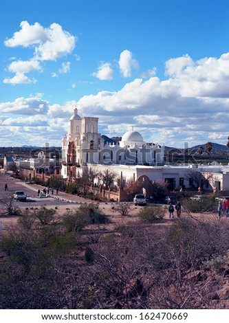 Spanish mission San Xavier del Bac started in 1692 by Spanish missionaries in the Americas