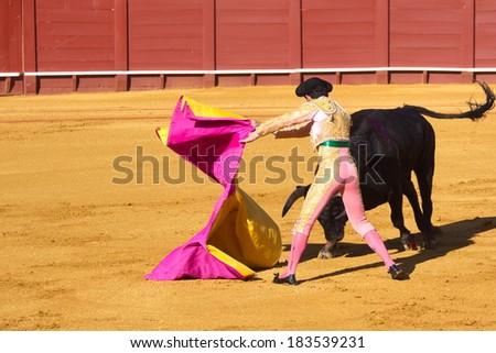 Spanish national amusement - corrida, bullfighting in Spain. - stock photo