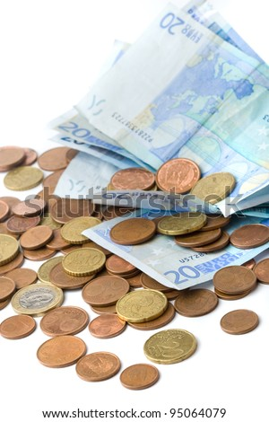 spanish official currency in vertical composition - stock photo