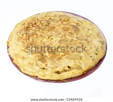 Spanish omelet isolated in white - stock photo