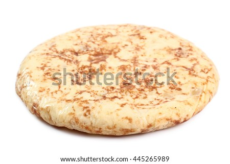 Spanish omelette. Isolated on a white background. - stock photo