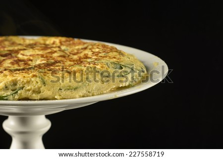 Spanish omelette with zucchini - stock photo